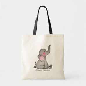 Watercolor Cute Baby Elephant With Blush & Flowers Tote Bag