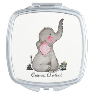 Watercolor Cute Baby Elephant With Blush & Flowers Vanity Mirror