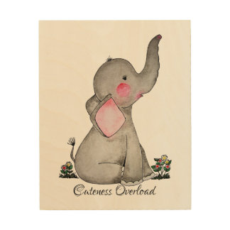 Watercolor Cute Baby Elephant With Blush & flowers Wood Wall Art