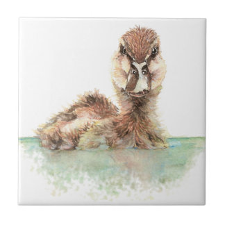 Watercolor Cute Bathing Duckling Bird art Small Square Tile