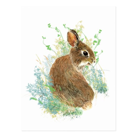 Watercolor Cute Bunny Rabbit Animal art Postcard