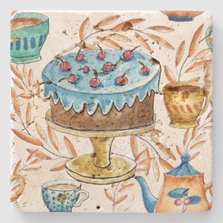 Watercolor cute cup and teapot, stone beverage coaster
