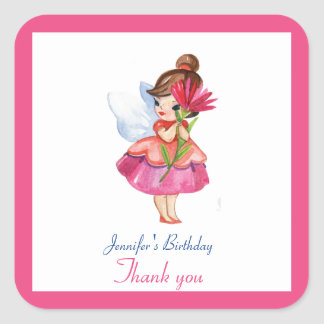 Watercolor CUTE Fairy FLOWER Princess Birthday Square Sticker