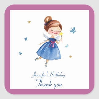 Watercolor CUTE Fairy Princess Butterfly Birthday Square Sticker