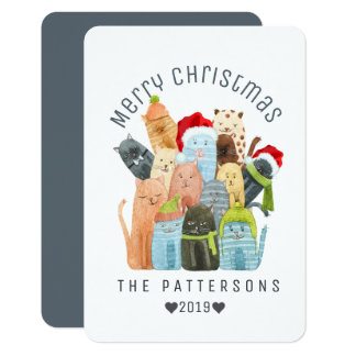 Watercolor Cute Kittens Merry Christmas Custom 9 Cm X 13 Cm Invitation Card
