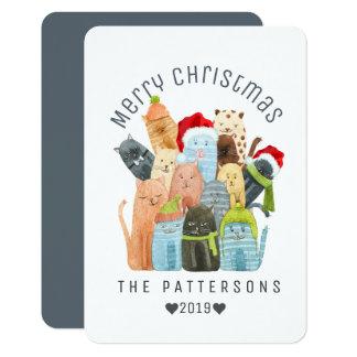 Watercolor Cute Kittens Merry Christmas Custom Card
