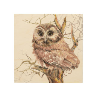 Watercolor Cute Owl in Tree Art