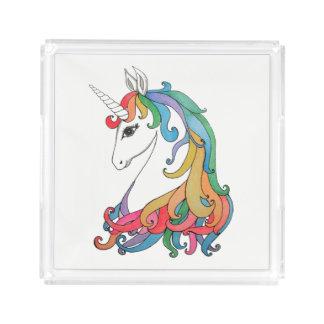 Watercolor cute rainbow unicorn acrylic tray