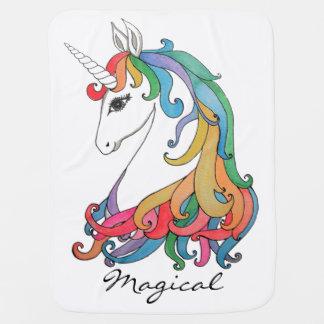 Watercolor cute rainbow unicorn baby blanket