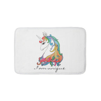 Watercolor cute rainbow unicorn bath mat