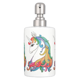Watercolor cute rainbow unicorn bathroom set
