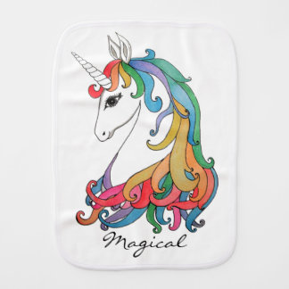 Watercolor cute rainbow unicorn burp cloth