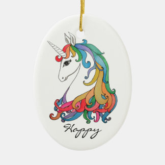 Watercolor cute rainbow unicorn christmas ornament