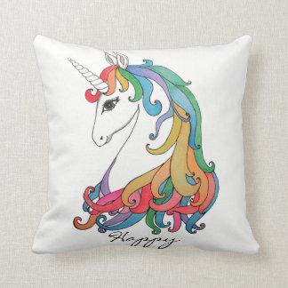 Watercolor cute rainbow unicorn cushion