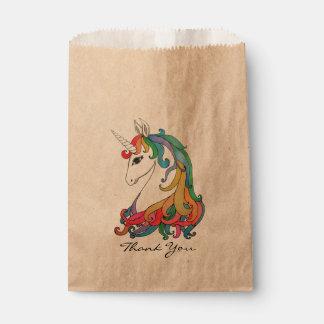 Watercolor cute rainbow unicorn favour bags