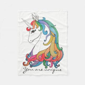 Watercolor cute rainbow unicorn fleece blanket