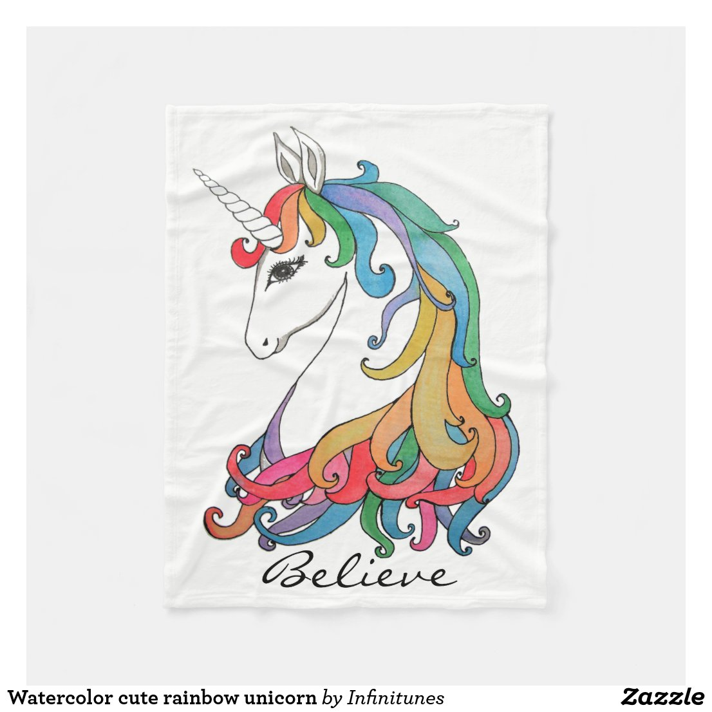 Watercolor Rainbow Unicorn Blanket