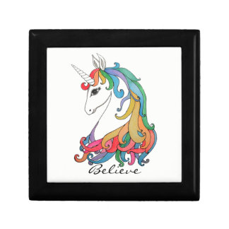 Watercolor cute rainbow unicorn gift box