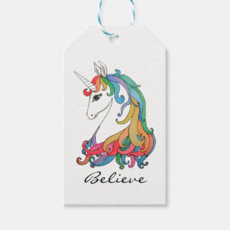 Watercolor cute rainbow unicorn gift tags