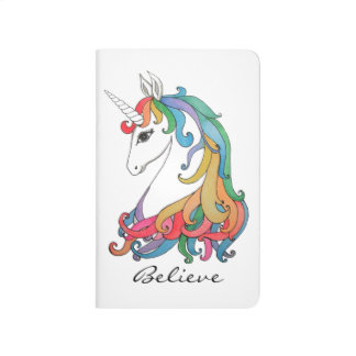 Watercolor cute rainbow unicorn journal