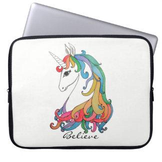 Watercolor cute rainbow unicorn laptop sleeve