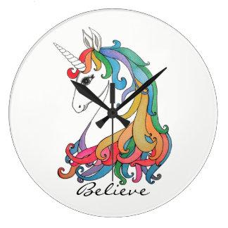 Watercolor cute rainbow unicorn large clock
