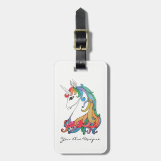 Watercolor cute rainbow unicorn luggage tag