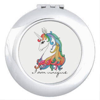 Watercolor cute rainbow unicorn makeup mirror