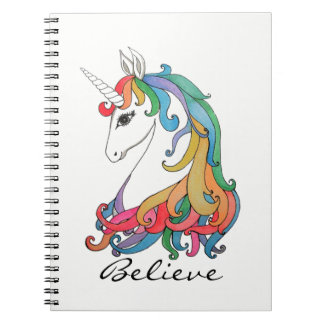 Watercolor cute rainbow unicorn notebooks