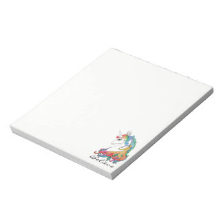Watercolor cute rainbow unicorn notepad