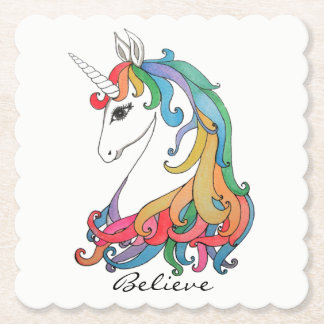 Watercolor cute rainbow unicorn paper coaster