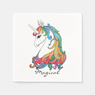 Watercolor cute rainbow unicorn paper napkin
