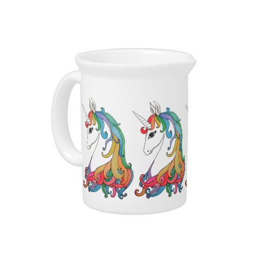 Watercolor cute rainbow unicorn pitcher