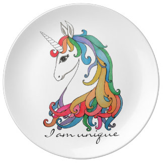 Watercolor cute rainbow unicorn plate