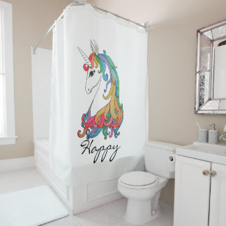 Watercolor cute rainbow unicorn shower curtain