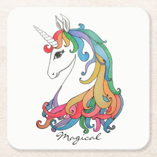 Watercolor cute rainbow unicorn square paper coaster