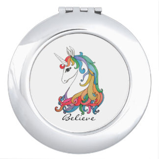 Watercolor cute rainbow unicorn vanity mirrors