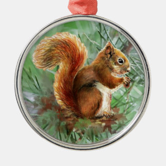 Watercolor Cute Red Squirrel Animal Nature Art Christmas Ornament