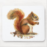 Watercolor Cute Red Squirrel Animal Nature Mouse Pads