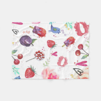 Watercolor Cute Summer Eements  Fleece Blanket