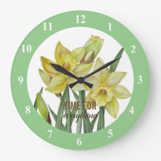 Watercolor Daffodils Flower Portrait Illustration Large Clock