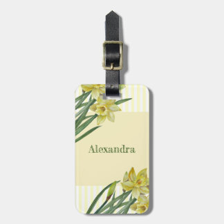 Watercolor Daffodils Flower Portrait Illustration Luggage Tag