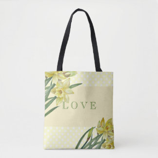 Watercolor Daffodils Flower Portrait Illustration Tote Bag