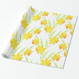 Watercolor Daffodils Pattern Wrapping Paper