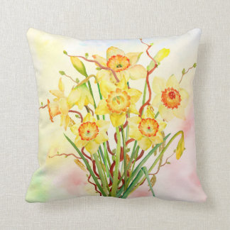 Watercolor Daffodils Pillow
