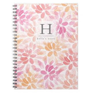 Watercolor Dahlias Monogram Notebook