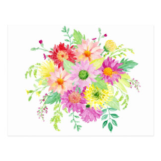 Watercolor daisy bouquet postcard