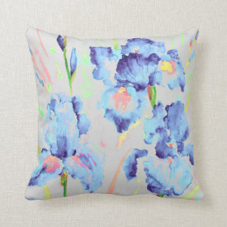 Watercolor Dark Blue Iris Cushion