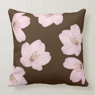 Watercolor Dark Brown Cherry Blossom Sakura Pillow