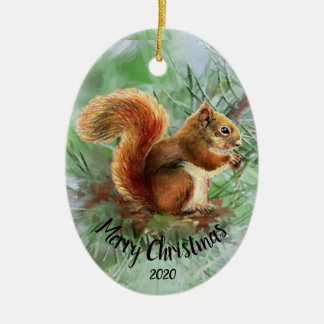 Watercolor Dated Squirrel Animal Merry Christmas Christmas Ornament